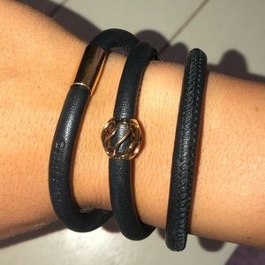 Christina Black Leather Wrap Bracelet